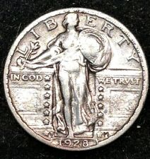 1928 S SOLID DATE Inverted S.  Rare Standing Liberty Quarter 25c Better Grade