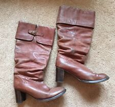 Women's Topshop Leather Knee High Heeled Boots Brown Tan Uk Size 5