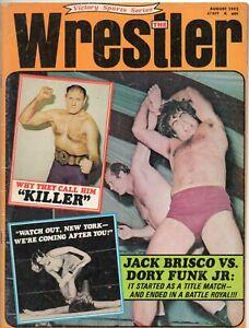 The Wrestler Magazine (August 1972) Kowalski, Funk Jr., Brisco cover