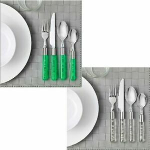 IKEA BUBBLOR 24-piece cutlery set transparent white green serves 6 people
