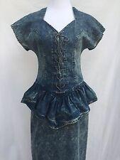 Vintage Panhandle Slim size 8 Acid Wash Denim Dress Lace Up Ruffle Waist 80s