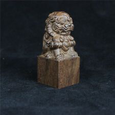 7cm Vintage Hand Carved Wood Sculpture Handmade Agarwood Wood Craving Lion Stamp