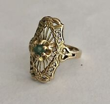 VINTAGE Emerald RING 14 K YELLOW GOLD 2.8 Gr. Size 2 3/4