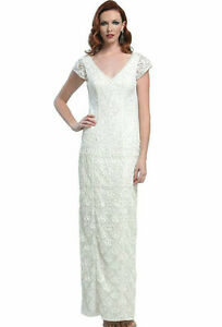 Sue Wong ~ Ivory Soutache & Sequins Cap Sleeves Shift Formal Gown 8 NEW $628