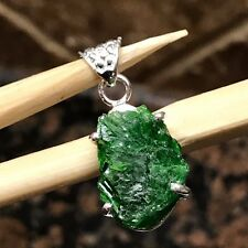 Genuine Russian Green Diopside 925 Solid Sterling Silver Cluster Pendant 25mm