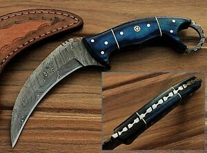 Custom Made Blue Wood  Karambit  8.2'' Fixed Blade Damascus Steel Hunting Knife