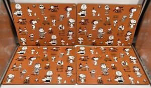 Pottery Barn Set of 4 Kids Peanuts Halloween Snoopy Pumpkin Orange Placemats