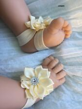 New Baby Girl Barefoot Flower Handmade Sandal Shoes VERY soft 0-12 months