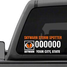 Custom Amateur Ham Radio - SkyWarn Storm Chaser Call Sign decal for car, truck