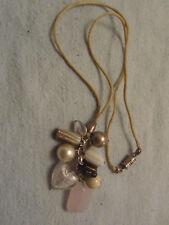 "Beige Cord Rose Quarttze Glass Heart & Varied Bead Pendant Necklace - 21"" long"