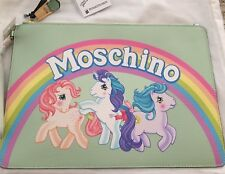 $425 SS18 Moschino Couture Jeremy Scott My Little Pony Green Rainbow Clutch XL