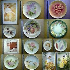 14 HAND PAINTED CERAMIC PLATES AND TILES, VARIOUS SCENES & SIZES FLORAL, ANIMAL
