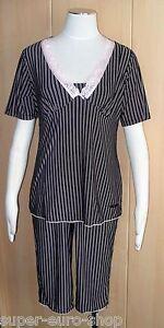 Pyjama Schlafanzug mit Capri-Hose schwarz-rosa Marie Amiere  Doppelgröße 36/38
