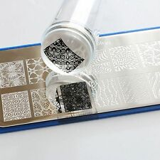 Nail Art Clear Stamper with Cap Clear Jelly Silicone Marshmallow Stamper Scraper