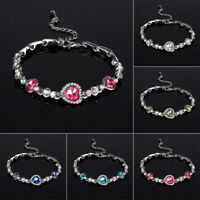 Fashion Women Ocean Crystal Rhinestone Heart Bangle Bracelet Gift