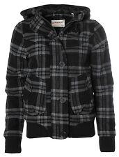 X058 O´NEILL Damen Wolljacke Trendige Winterjacke Kapuze Karo Jade Black L