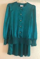 EVANNA PETITE WOMEN'S MATCHING TWO PIECE OUTFIT SKIRT & BLOUSE PLEATED TURQUOISE