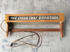 "Vintage Cigar Advertising Light Roi-Tan ""The Cigar That Breathes"" Wood Display"