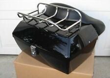 Stylish Large Motorcycle Trunk Black Luggage Top Case w/top Rack