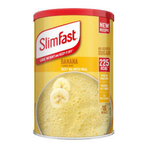 SlimFast Banana Shake Powder BIG TUB --584g =16 Servings Meal Replacement DIET