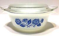 Fire King Casserole Dish Lid #472 Blue Cornflower 12 oz Anchor Hocking Vintage
