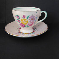 EB Foley Tea Cup Saucer Y2854 Hand Painted Pink Floral England Vintage