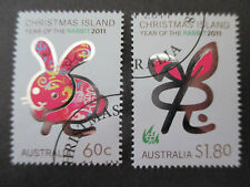2011  CHRISTMAS  ISLAND  YEAR OF THE  RABBIT  ISSUES   2 STAMPS  -USED-   - A1