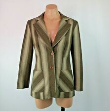 Vtg 70s Loubella Blazer Jacket Striped Fitted Sz 8 Boho Austin Powers