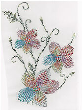 Rhinestone iron on transfer DIY hot fix applique Colorful Flower Craft Decorate