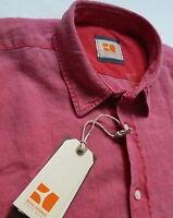 NEU Hugo Boss Orange HEMD kurzarm Cliffi Gr.M 39/40 Leinen Designer-Hemd rosa