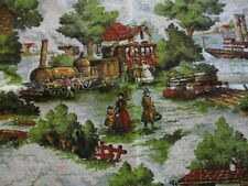 Vintage Nubby Victorian Scenery Train carriage  Bark Cloth Cotton Fabric