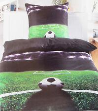2 oder 4-tlg. Bettwäsche 135x200 + 80x80, Fußball Fan Motiv, grün schwarz