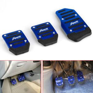 3x Non-slip Car Auto Aluminium Foot Treadle Silver Pedals Cover Pad Accesssory