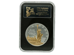 United States - Silver 1 Dollar Coin - 'Ellis Island' - (Gold Plate)  1986 - UNC
