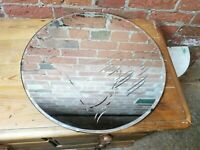 Frameless Round Etched Mirror Lovely Aged Art Deco VINTAGE