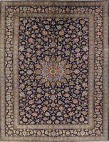 Vintage Navy Blue Floral Kashaan Persian Oriental Handmade Area Rug 10x13 Wool