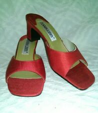 Gorgeous New Womens Sam & Libby Red Satin Low Heel Slide Sandals / Mules Size 8