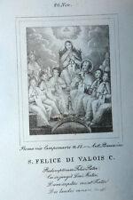 S. Felice di Valois 20 Novembre 1840 Incisione Santino Acquaforte Stampa Banzo