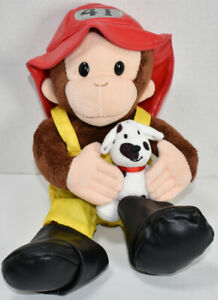 Applause CURIOUS GEORGE BROWN MONKEY FIREMAN Stuffed Animal CHARACTER PLUSH Toy