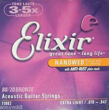 Juego cuerdas elixir 11002 guitarra Acustica / electroacustica 010-047 Bronze