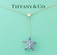 "Tiffany & Co Star Drop Platinum 1.12 ct Sapphire & Diamond Necklace 16"" Rtl $4k+"