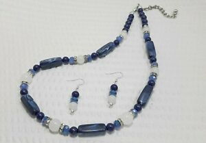 Vintage Style Navy Blue Crystal and Milk Glass Bead Necklace and Earring Set