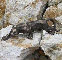 Figur Panther gross Katze Tiger Puma Leopard Jaguar Skulptur Bronze Gusseisen