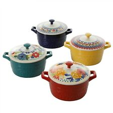 New listing Free Ship,The Pioneer Woman Floral 6.25-Inch Casserole with Lid, Set of 4