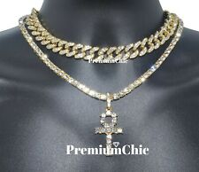 14k Gold Plated Men ANKH Pendant Tennis Necklace & Miami Cuban Choker HipHop SET