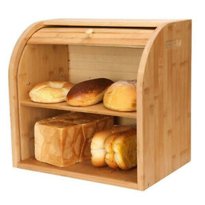 Large Bamboo Wood Bread Box Roll Top Kitchen Storage Containers Loaf Storage Bin