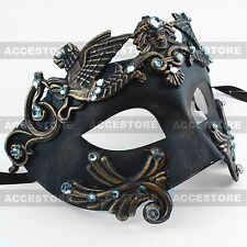 Dark Gold Roman Greek Emperor Men's Masquerade Mardi Gras Venetian Mask Party