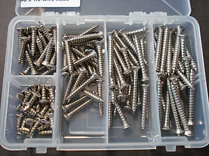125 pcs #8 with #6 phillips oval head stainless steel trim screws assortment