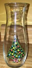 """Vintage 1987 Pasabahce Crystal Christmas Tree Vase 7"""" NEW W/Tag Made in Turkey"""