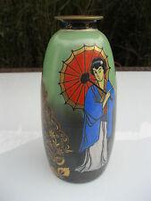 antike Scailmont Vase ~1930 Madame Butterfly cloisonné Emaille signiert Art Deco